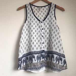 Live 4 Truth Blue and White Ikat Tank Top